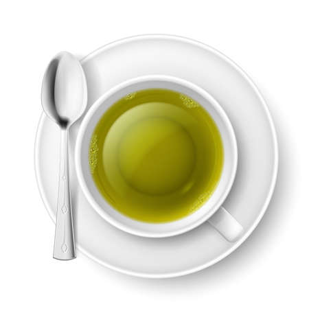 Cup of green tea with spoon over white background Vector