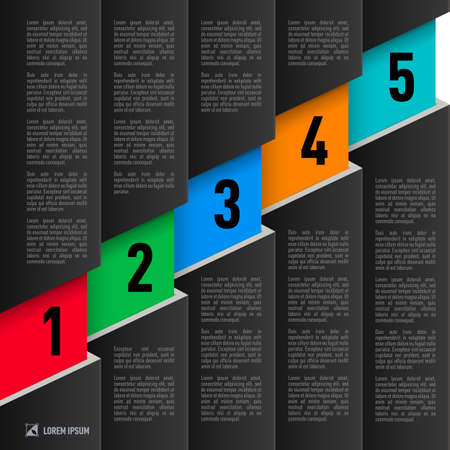 hierarchy chart: Infographics in black paper style with ascending colored numbered items from one to five Illustration