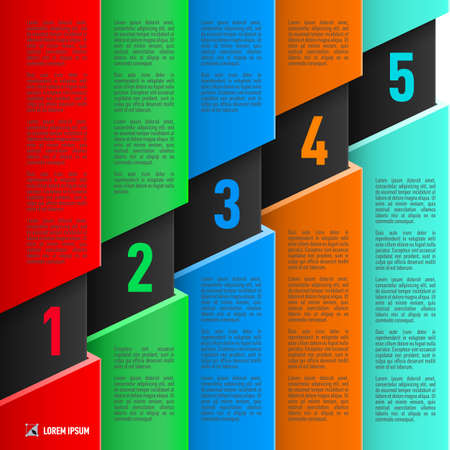 hierarchy chart: Infographics in paper style with colorful sheets and numbered items from one to five