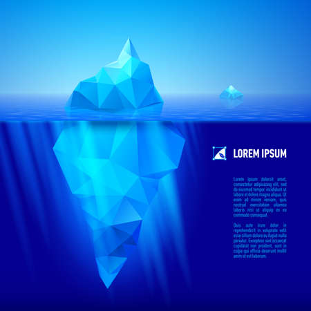 big blue iceberg drifting in the sea. Half of it is under water.