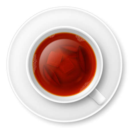 lump: Cup of black tea with lump of sugar and tea leaves at the bottom Illustration