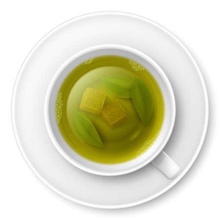 bovenaanzicht plant: Kop van groene thee met een stuk van de rietsuiker en thee bladeren op de bodem Stock Illustratie