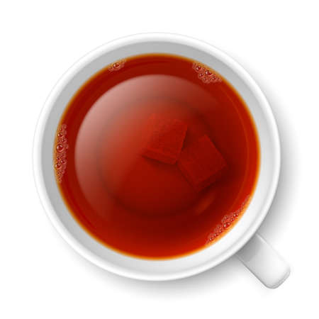 lump: Cup of black tea with lump of cane sugar at the bottom