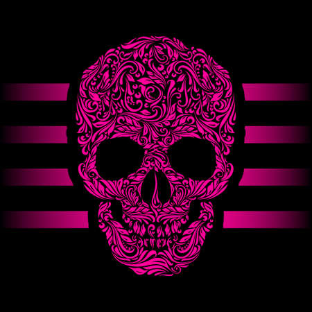 Floral pattern of form pink skull. Pink stripes. Emo Vector