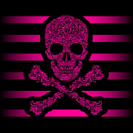 Floral pattern of form pink skull and crossbones. Pink stripes. Emo Vector