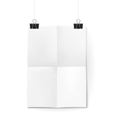 hangs: White sheet of paper folded in four. The paper hangs on black binder clips. Illustration