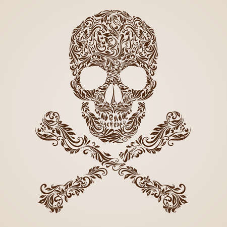 Floral gold  pattern of form skull with crossbones on the beige background