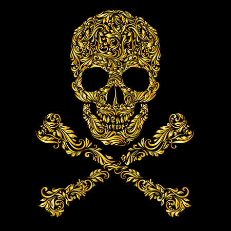 Patrón oro floral del cráneo forma con bandera pirata en el fondo negro