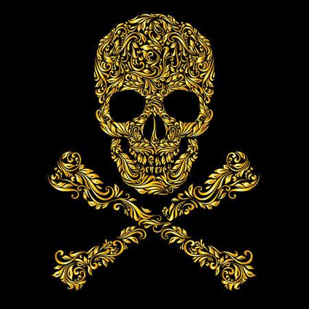 calavera: Patrón oro floral del cráneo forma con bandera pirata en el fondo negro