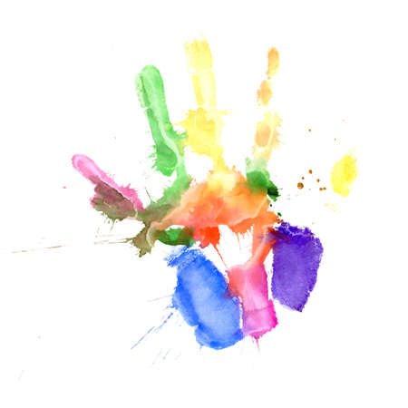 handprints: Print of a hand painted in several colors on white background
