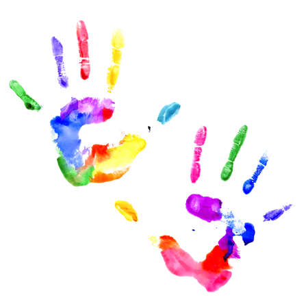 Left and right handprints painted in different colors on white background Ilustracja