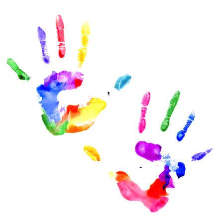 odcisk kciuka: Lewy i prawy handprints malowane w różnych kolorach na białym tle