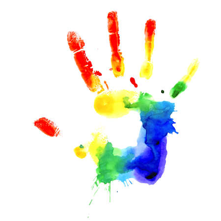 Handprint in colors of the rainbow, vector image on white background  Illustration