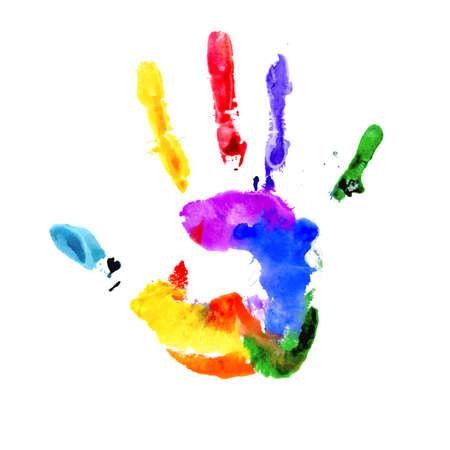 Handprint in de kleuren van de regenboog op wit wordt geïsoleerd