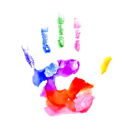 handprints: Hand painted in colors of the rainbow on white background