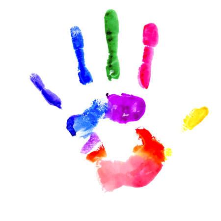 Huella de la mano pintada de varios colores sobre fondo blanco