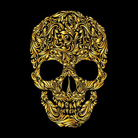 dode bladeren: Bloemen gouden patroon van de vorm schedel op de zwarte achtergrond Stock Illustratie
