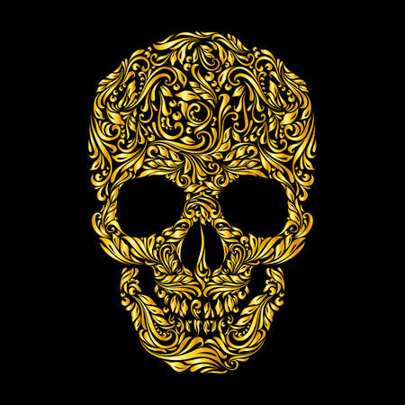 Floral gold  pattern of form skull on the black background Illustration