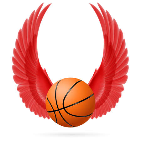 bird wings: Red wings with  basketball  on  white background Illustration