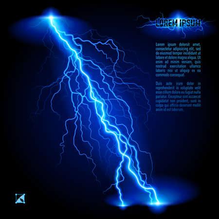 Blue schuine branchy bliksem lijn. Illustratie met ruimte voor tekst