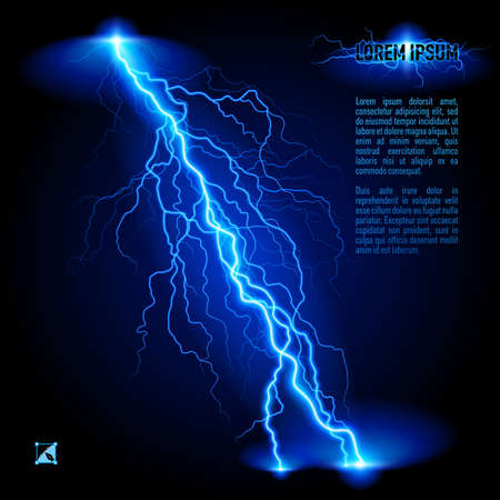 Blue oblique branchy lightning line. Illustration with space for text