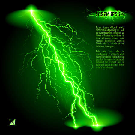 Green oblique branchy lightning line. Illustration with space for text