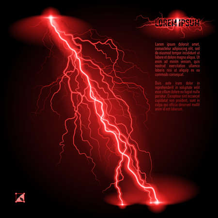 perilous: Red oblique branchy lightning line. Illustration with space for text Illustration