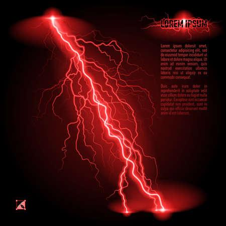 lightning strike: Red oblique branchy lightning line. Illustration with space for text Illustration
