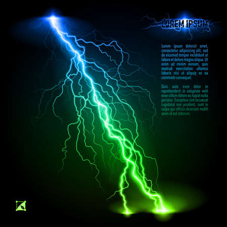 perilous: Green and blue oblique branchy lightning line. Illustration with space for text