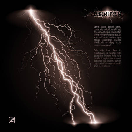 White oblique branchy lightning line. Illustration with space for text Illustration