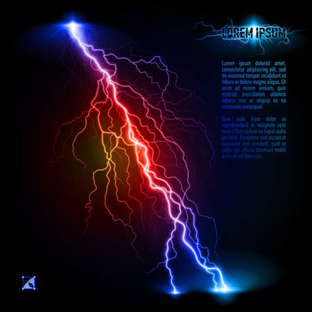 Blue and red oblique branchy lightning line. Illustration with space for text Illustration