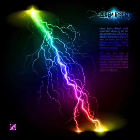perilous: Colourful oblique branchy lightning line. Illustration with space for text