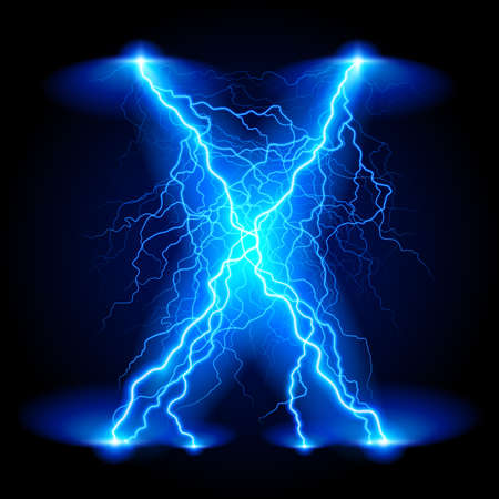 electricity: Criss-cross lines of branchy bright blue lightning. Illustration