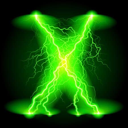 分岐した明るい緑色の稲妻の十字線。