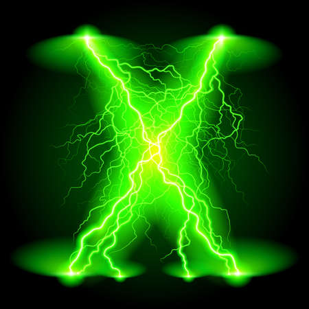 Criss-cross lines of branchy bright green lightning. Ilustrace