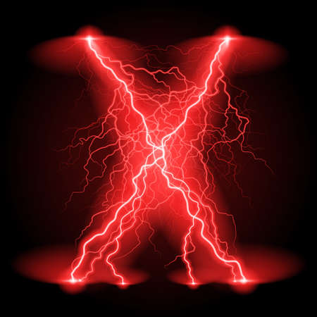 thunder and lightning: Criss-cross lines of branchy bright red lightning.