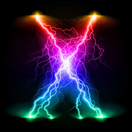 branchy: Criss-cross lines of branchy bright colourful lightning. Illustration
