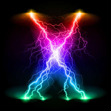 branchy: Criss-cross lines of branchy bright colourful lightning. Illustration