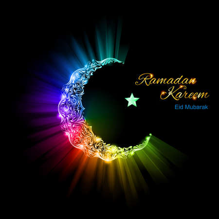 spectral: Ornate Moon Crescent and a single bright star in brilliant spectral flares and lights. Ramadan greeting postcard Illustration