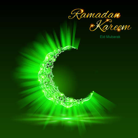 Glowing ornate crescent with bright flare and radiance in brilliant green shades. Greeting card of holy Muslim month Ramadan  Vector