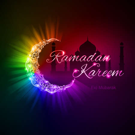 Glowing ornate crescent with bright flare and radiance in spectral   shades. Greeting card of holy Muslim month Ramadan  Vector