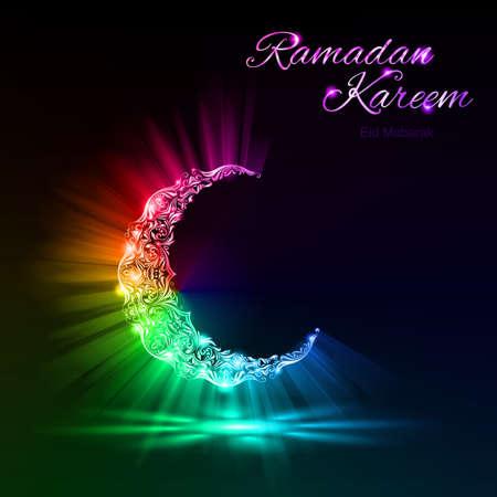 Glowing croissant de lune avec la fusée lumineuse et l'éclat des couleurs spectrales. Carte de voeux de mois sacré musulman du Ramadan
