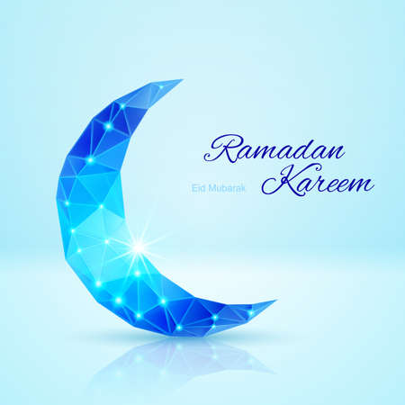 Glowing ornate crescent in blue shades. Greeting card of holy Muslim month Ramadan Vector