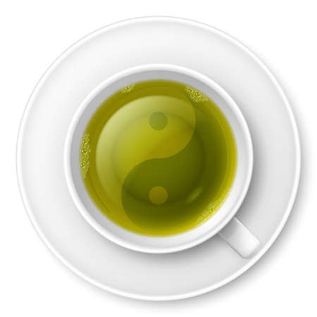 chinese philosophy: Cup of green tea with traditional Chinese Yin-Yang symbol