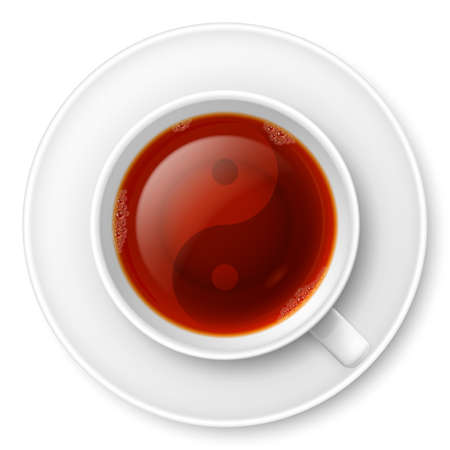 tai chi: Cup of black tea with traditional Chinese Yin-Yang symbol Illustration