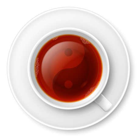 chinese tea cup: Taza de t� negro con el s�mbolo tradicional chino Yin-Yang Vectores