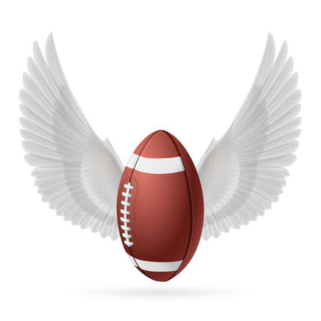 Realistic ball for American football with white wings emblem