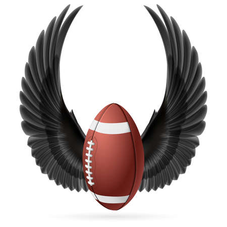 rugger: Realistic ball for American football with raised up black wings emblem