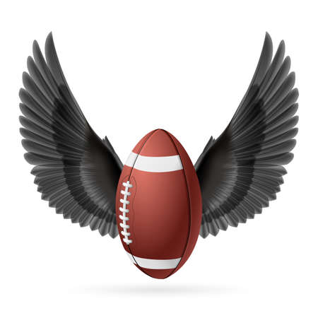 rugger: Realistic ball for American football with black wings emblem Illustration