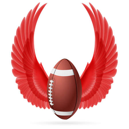 rugger: Realistic ball for American football with raised up red wings emblem